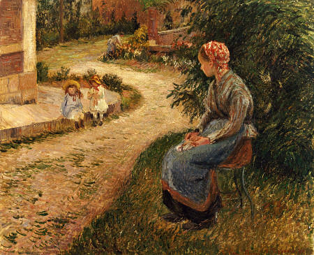 Maid Sitting in the Garden at Eragny Artist: Camille Pissarro