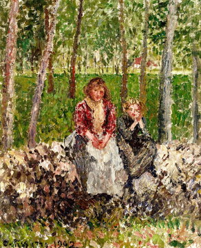 Peasants beneath Trees at Moret by Camille Pissarro